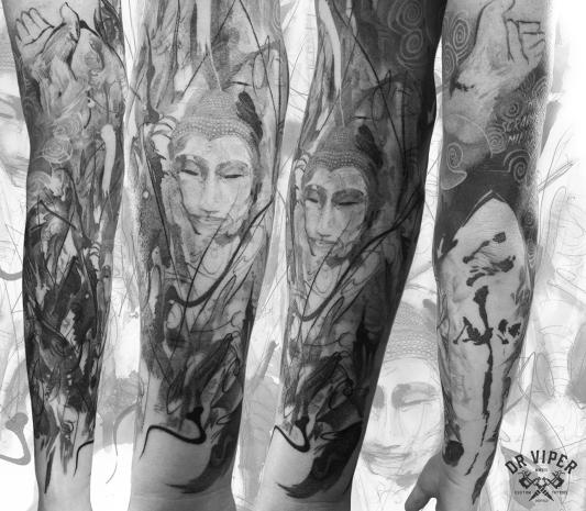Dr Viper Buddha sleave tattoo